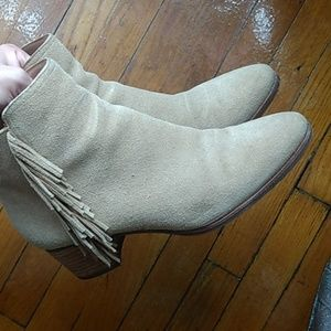 Fringe Suede Ankle Boots /Booties- Banana Republic